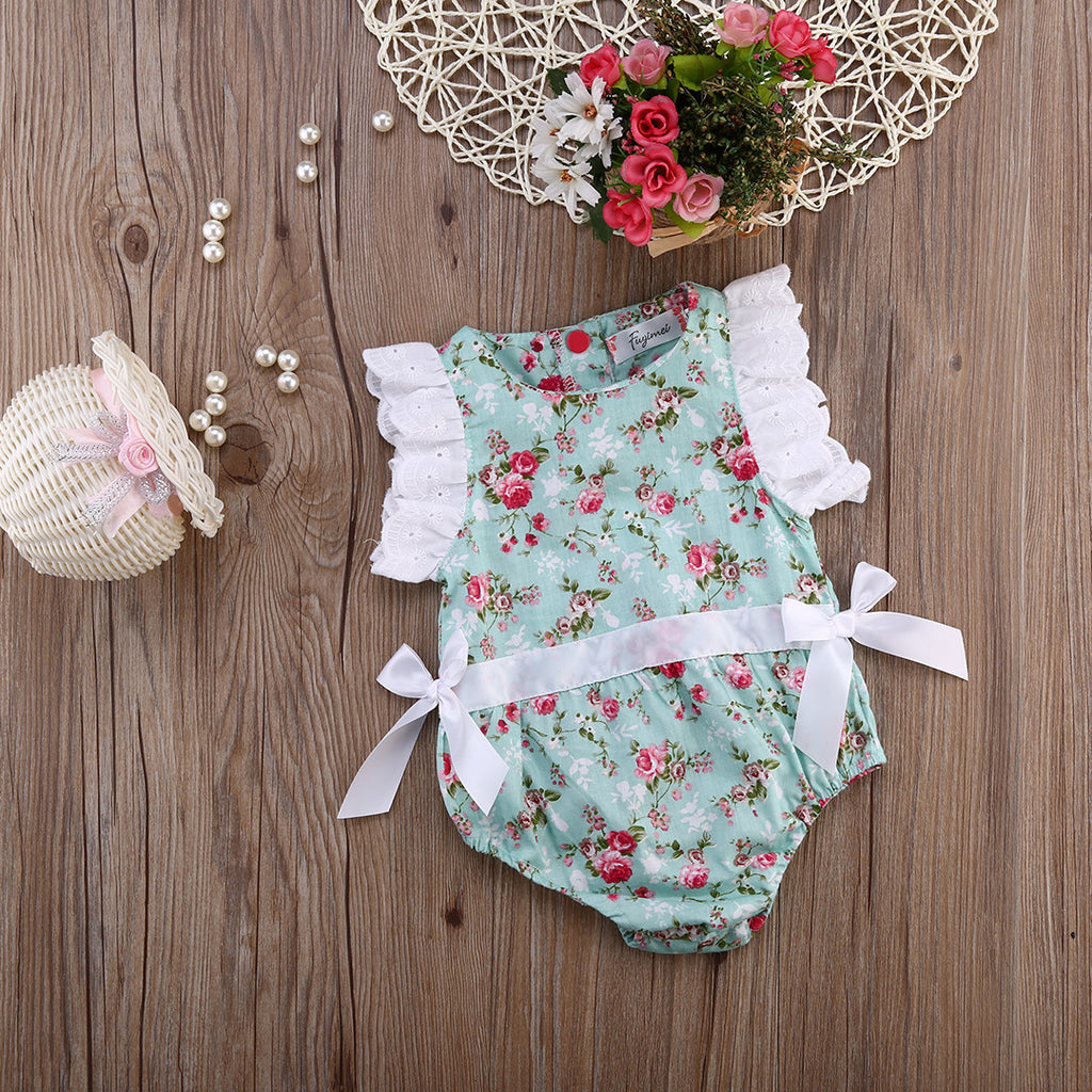 Floral Romper with Ruffled Sleeves
