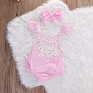 2 Pc Lace Embroidery  Romper  with Bow-knot Headband
