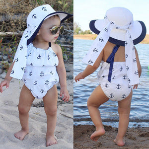 2 Pc Anchor Romper with Bowknot Headband