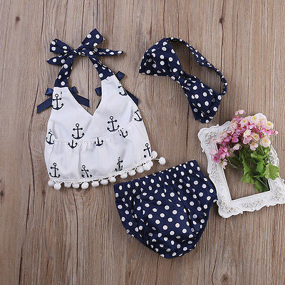 3pcs Anchor and Polka Dots with Bloomer