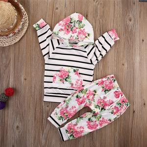 Floral and Striped Hooded Pullover with Pants