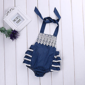 Embroidered Denim Romper with Ruffle Back