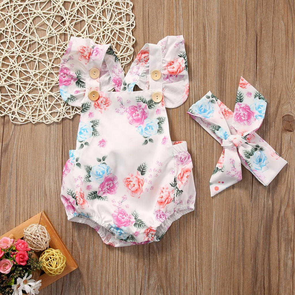 2 Pc Floral Pretty As a Button Romper with Headband