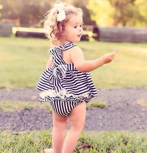 2 Pc Striped Criss Cross Dress with Bloomer