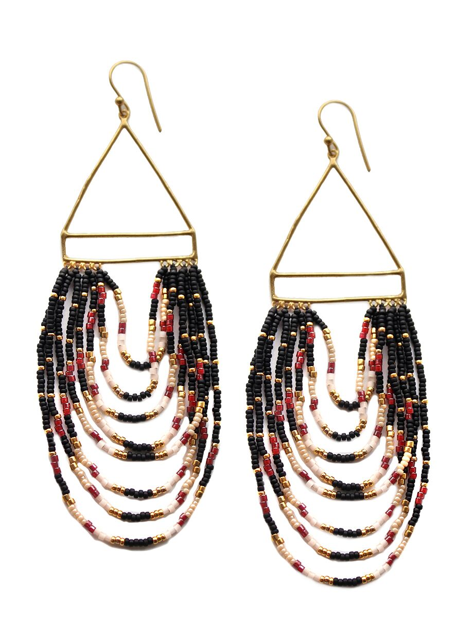 Black/Gold Carita Beaded Cascade Earring