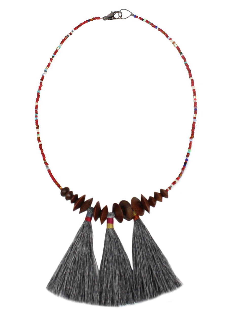 Ash Sioux Wood & Tassel Necklace