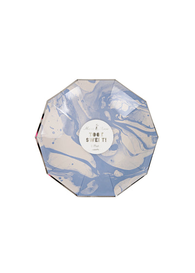 8 Small Blue Marble Party Plates