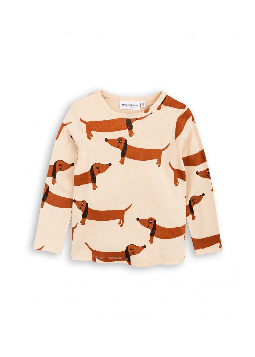 Kids Beige Dog L/S Tee