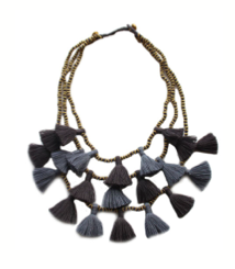 Gunmetal Gia Multi Strand Tassel Necklace