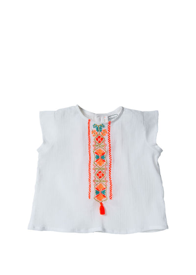 Girls White Amour Top