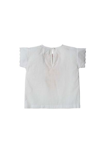Girls White Arabelle S/S Blouse