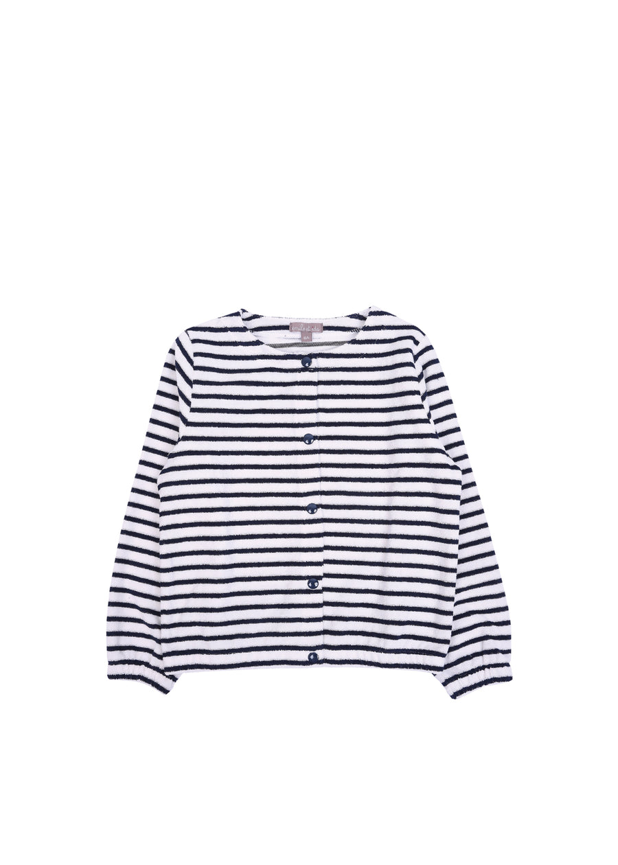 Kids Marine Striped Terry Cardigan