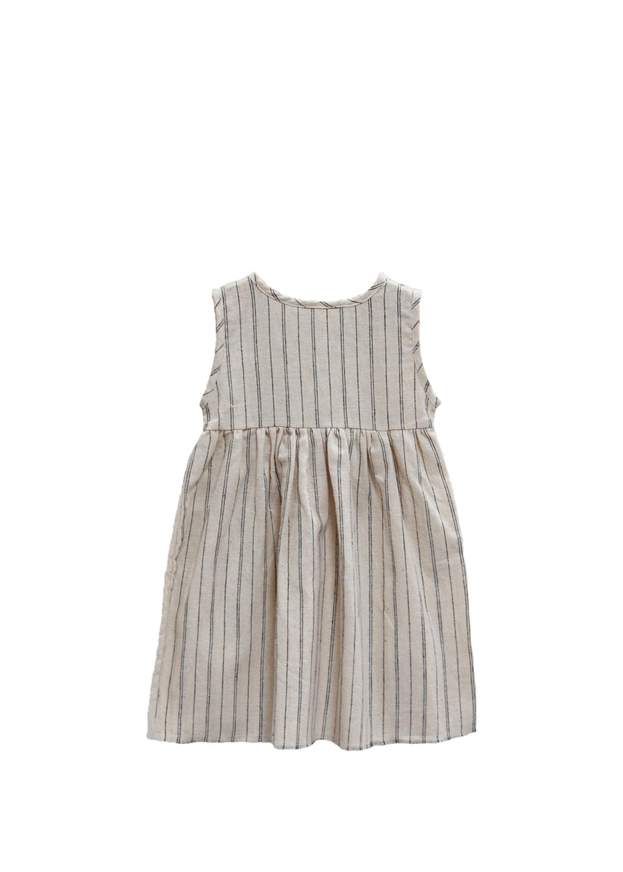 Natural Stripe Sleeveless Prairie Dress