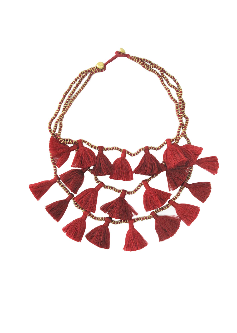 Lipstick Gia Multi Strand Tassel Necklace