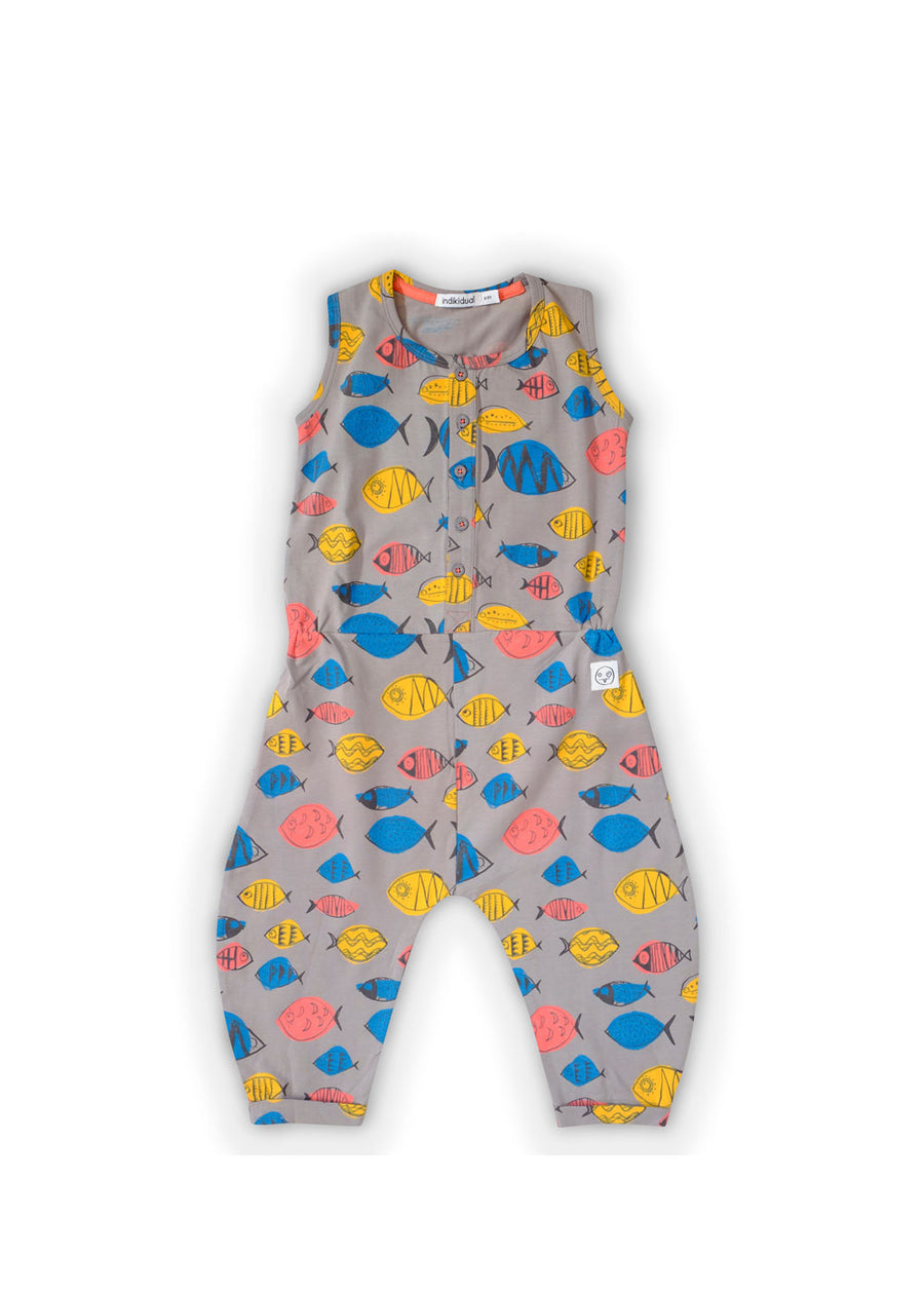 Kids Gray Shark Fish Jumpsuit