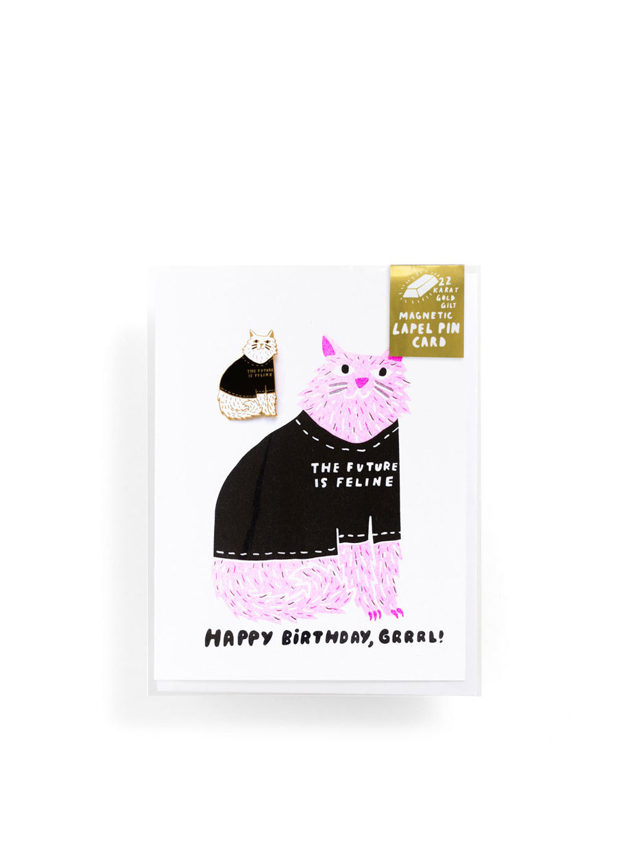 Future is Feline Lapel Pin Card