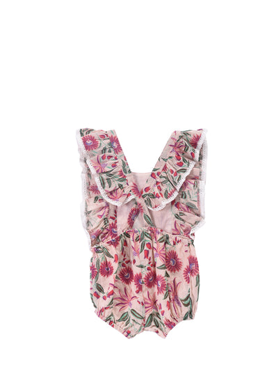 Kids Pink Flower Honolulu Overall