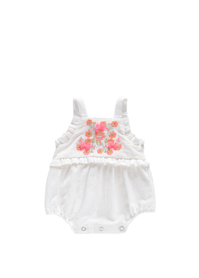 Girls White Anjali Romper