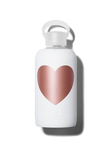 Opaque White w/ Rose Heart Water Bottle