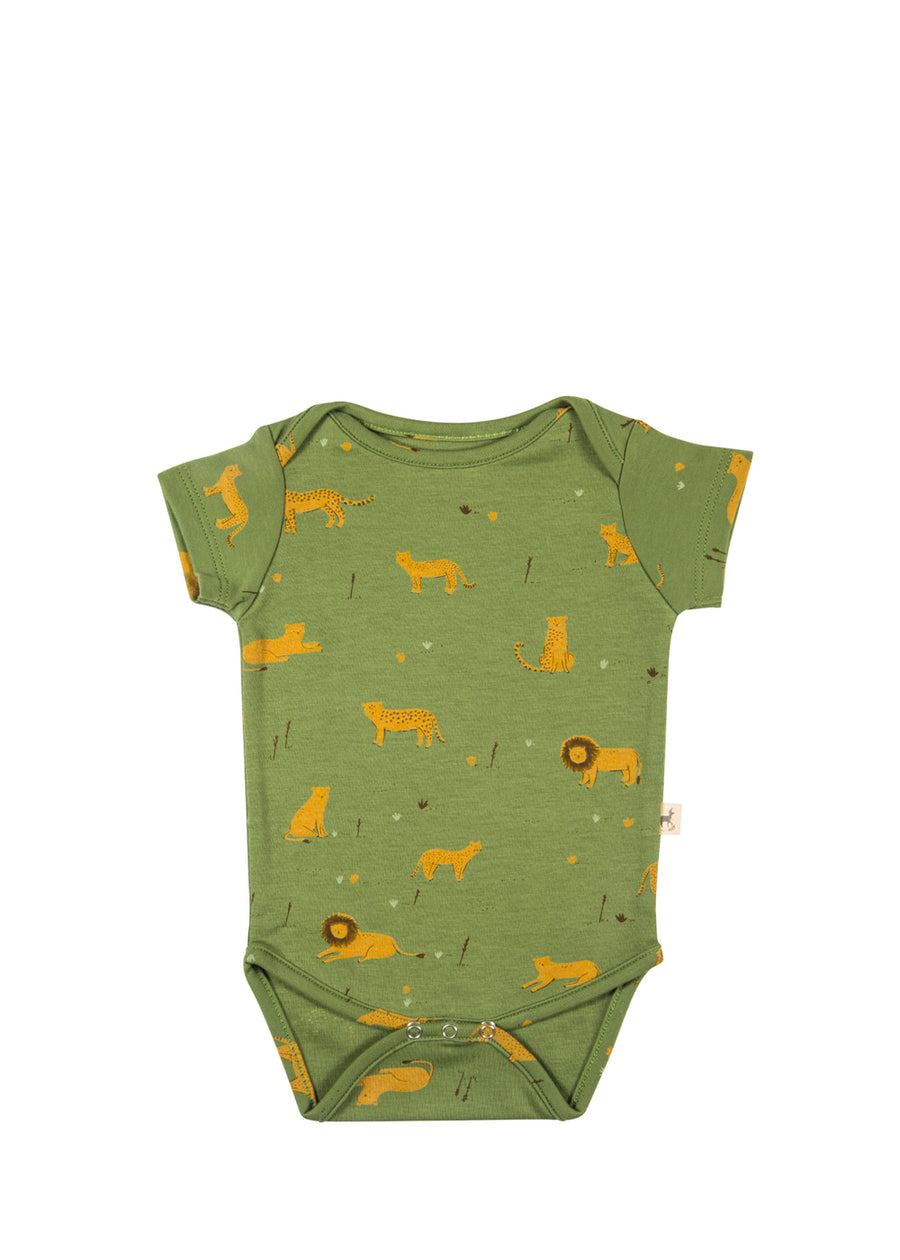 Baby Vineyard Green Big Cats Onesie