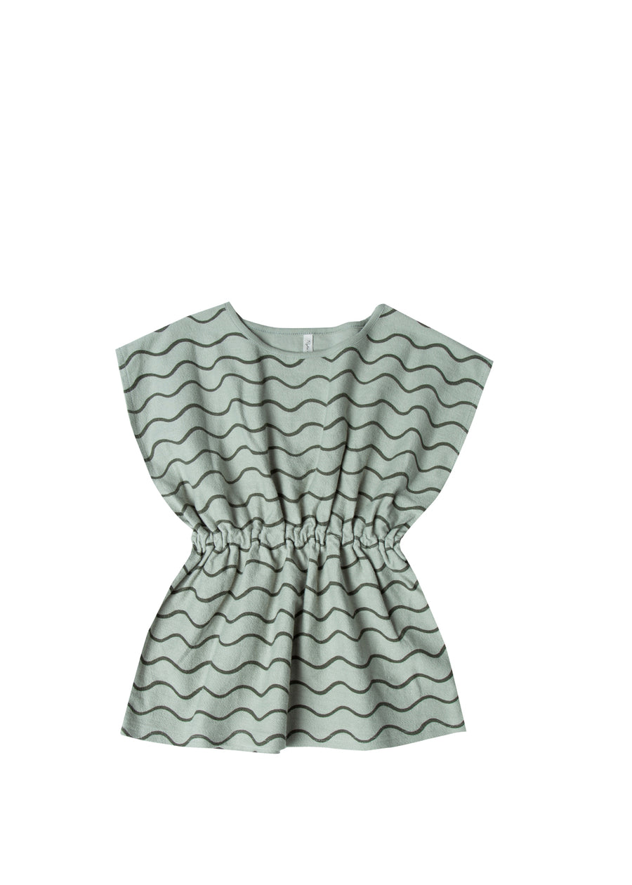 Girls Seafoam Rolling Waves Caftan Dress