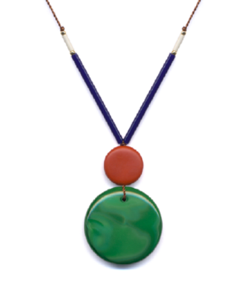 Navy/Green Bug Pendant Necklace