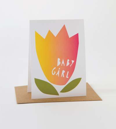 Papercut Baby Girl Card