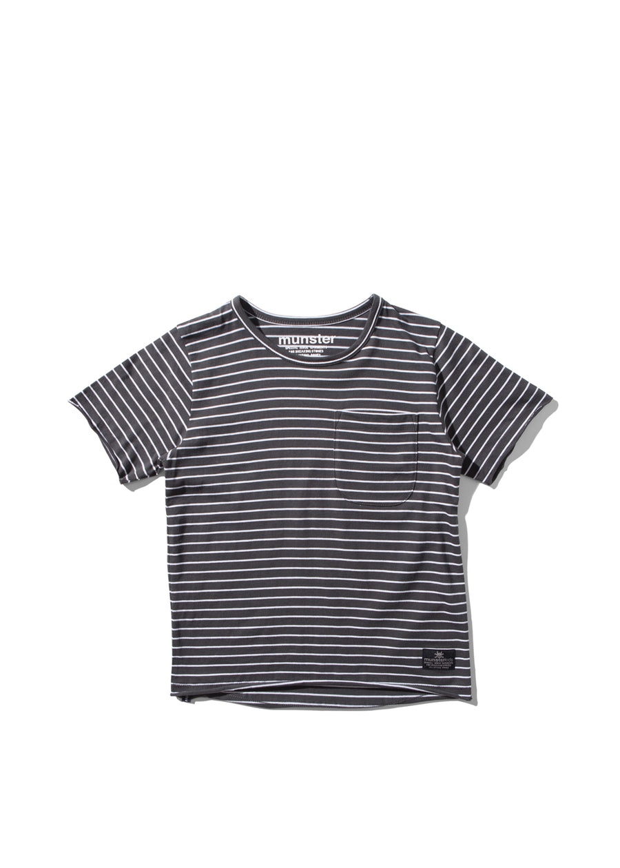 Kids Ash Black Striped Flatline Tee