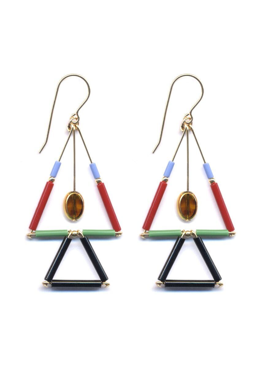 Double Mosaic Triangle Earrings