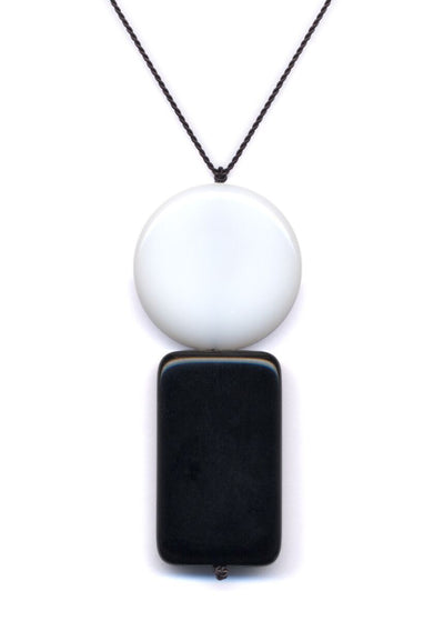 Black Rectangle & White Circle Pendant Necklace