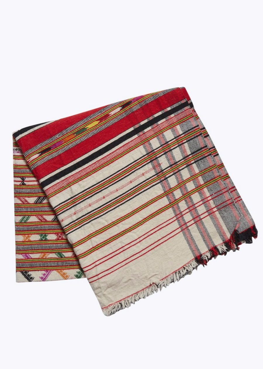 Red/Cream Stripe Jacquard Throw Blanket