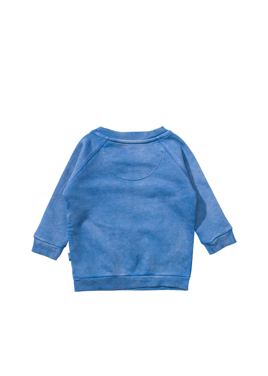 Baby Washed Blue Maple Face Sweatshirt