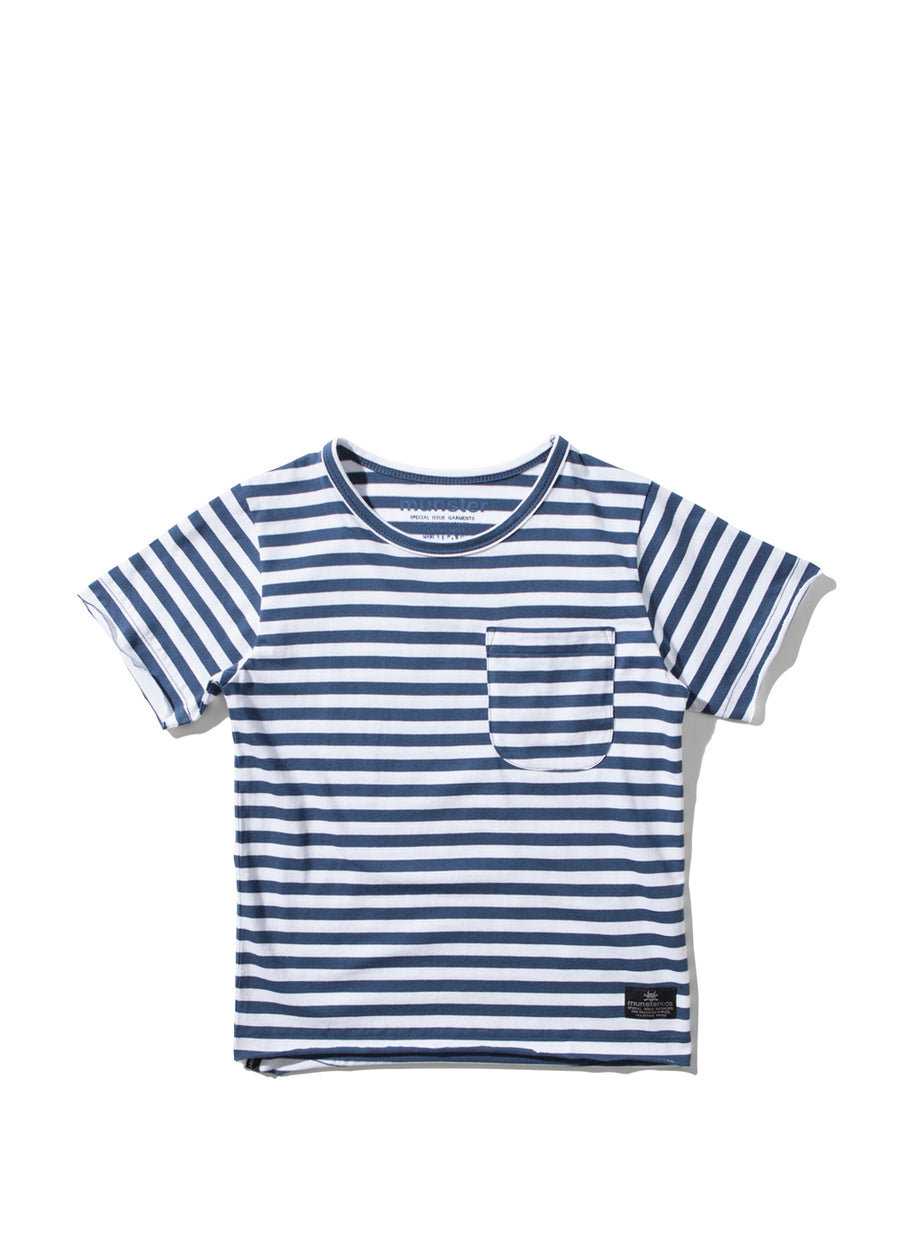 Kids Navy Striped Poler Tee