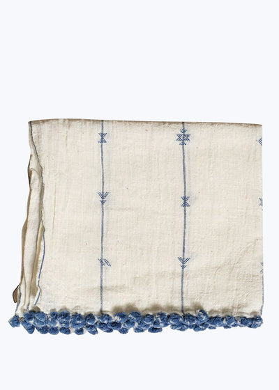 Natural/Indigo Small Motif Scarf