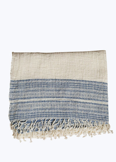 Natural/Blue Border Scarf