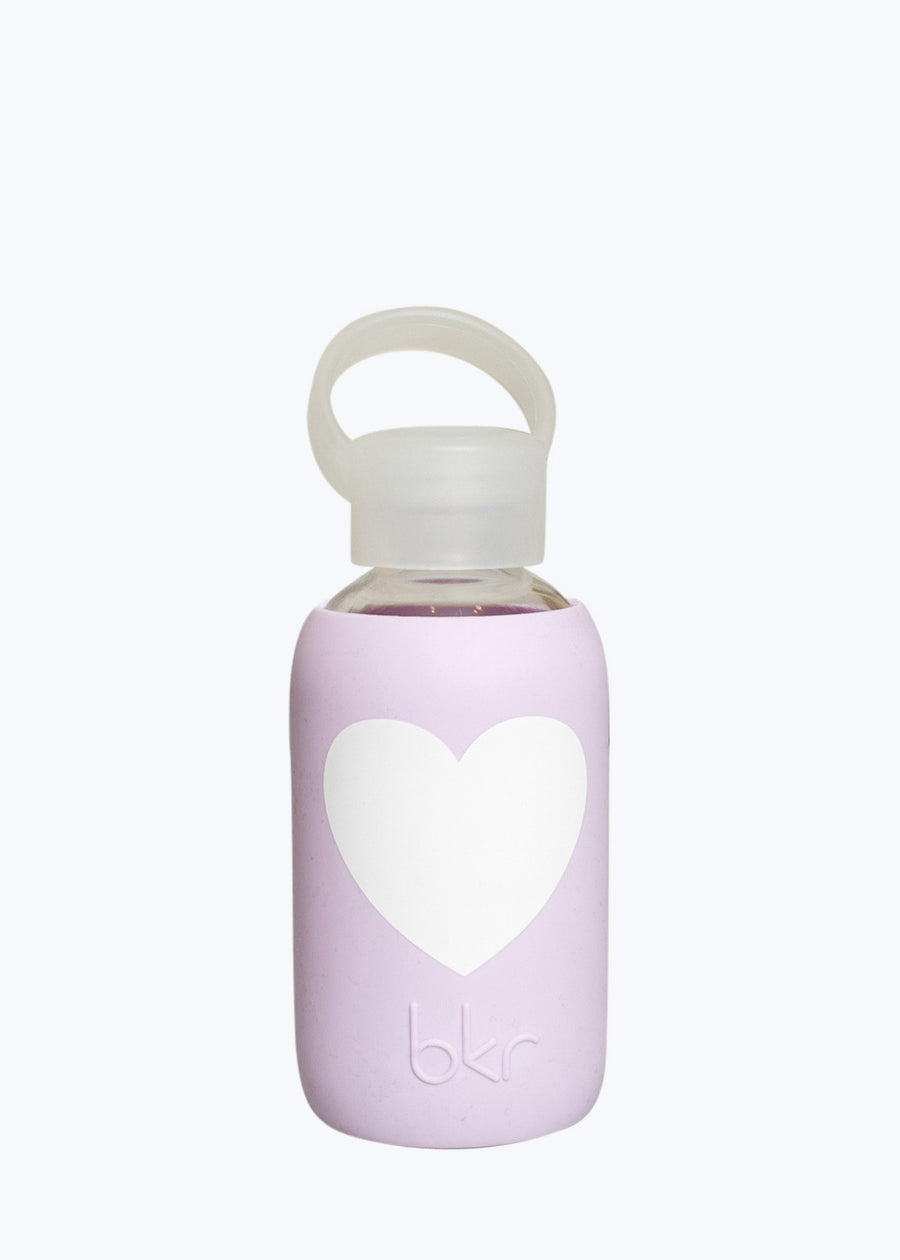 Opaque Lavender White Heart Teeny Water Bottle