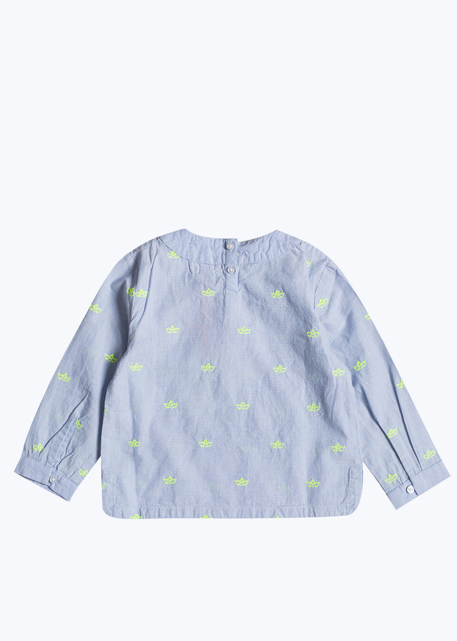 Kids Light Blue Noe Paper Boat Shirt- 6Y (Last One)