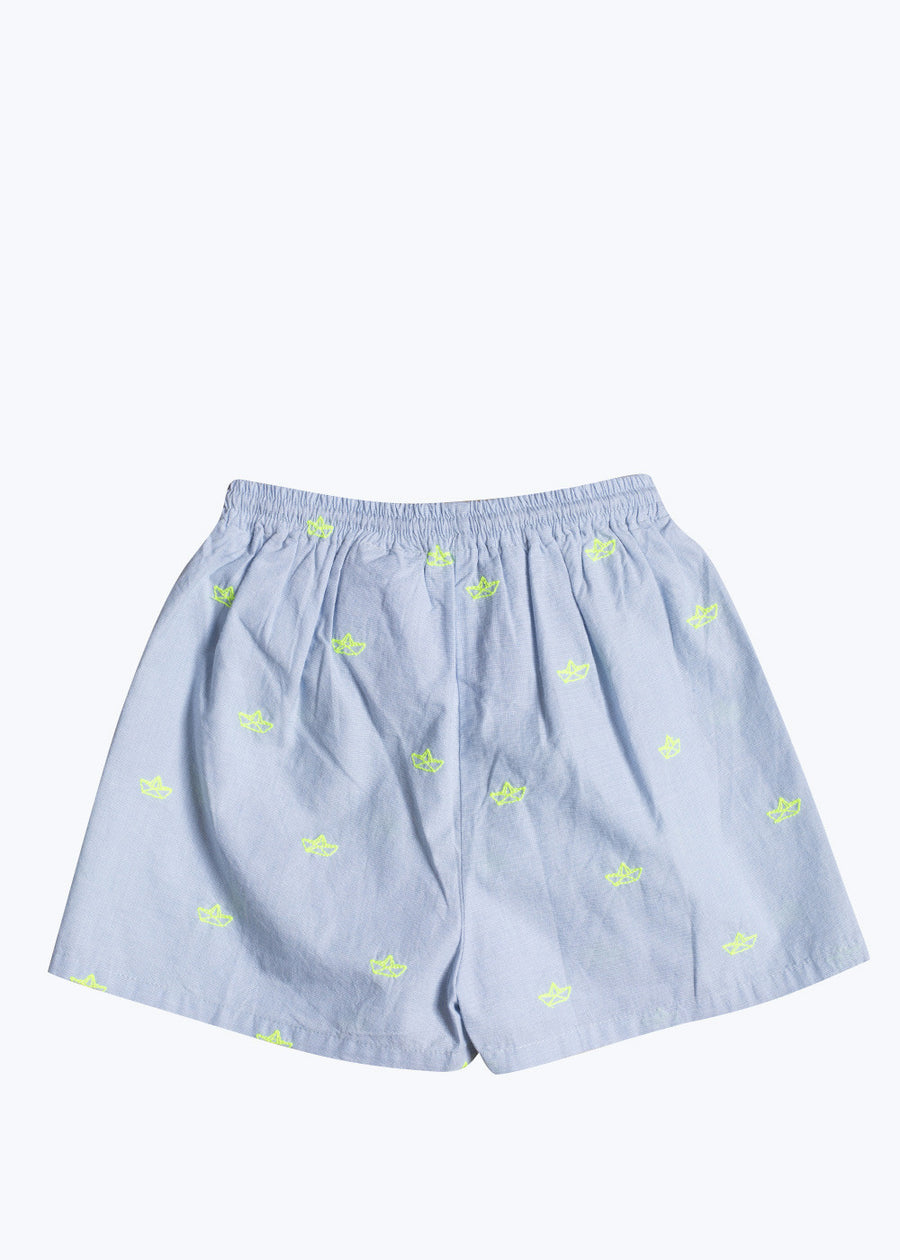 Kids Light Blue Surfer Paper Boats Shorts-2Y
