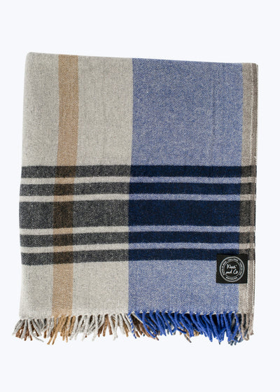 Ocean 1 Checked Wool Throw