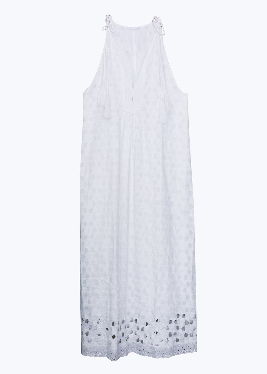 White Daisy Halter Maxi Dress-O/S