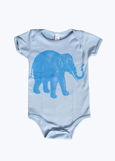 Light Blue Baby Lucky Elephant S/S Onesie-6/12M