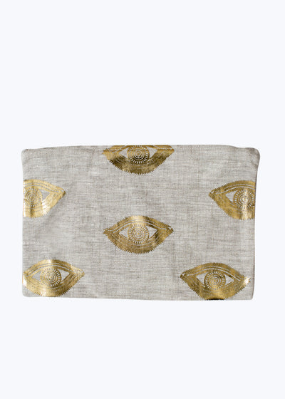 Gold Foil Eyes Linen Zipper Pouch
