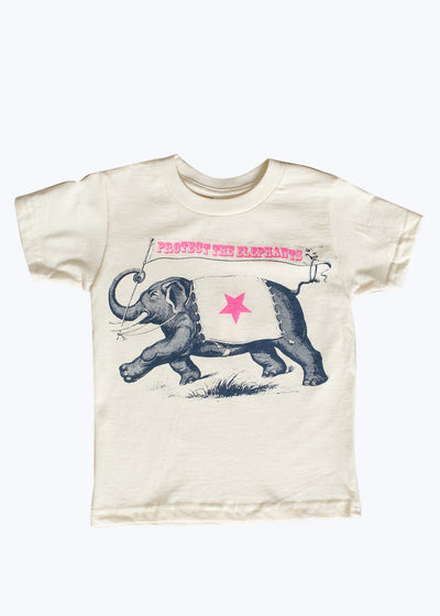 Kids Natural Protect The Elephants Tee