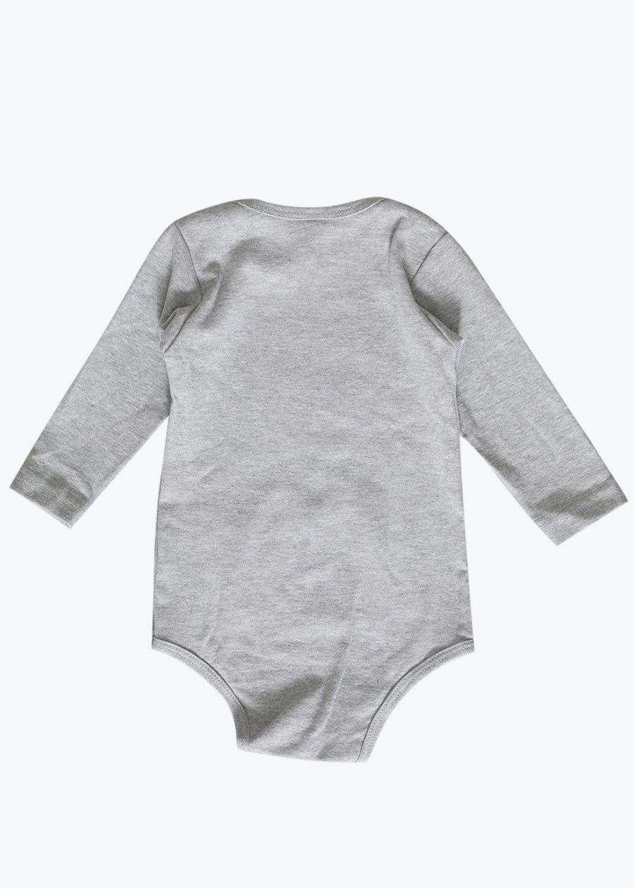 Baby Heather Gray Leaping Tigers Onesie