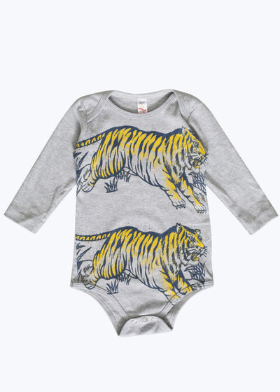 Baby Heather Gray Leaping Tigers Onesie-6/12M
