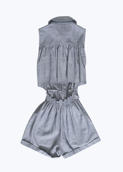 Chambray Gathered Back Shorts Jumper-2
