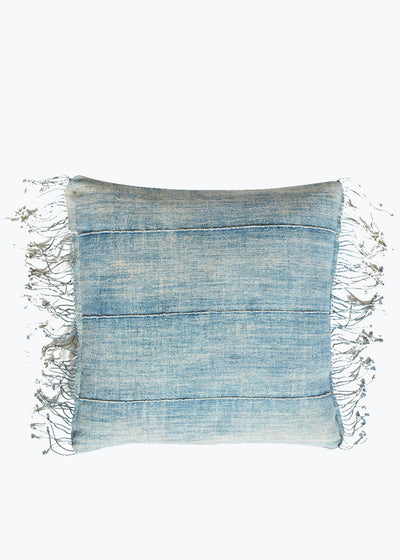 Light Blue Fringe Pillow