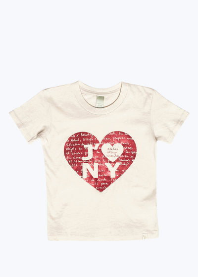 Red Foil Kids J'Adore NY Heart Organic Tee