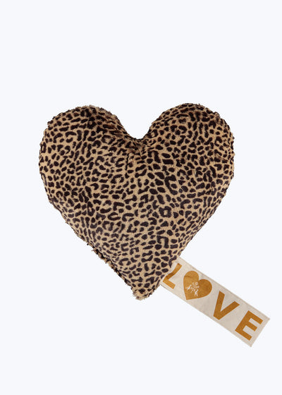 Small Love Faux Fur Snow Leopard Pillow