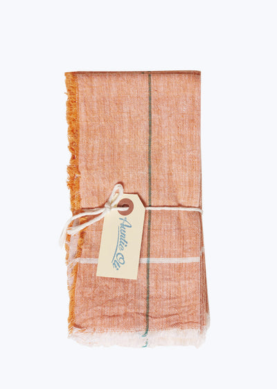6 Orange Khadi Napkin Set